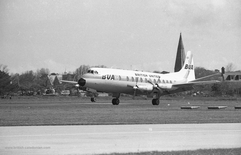 BUA Viscount G-APTB arriving in Jersey