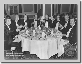 Burns Night Supper:  Travel Agents with George Scowen (2nd from left) and Ray Jackson (far right)