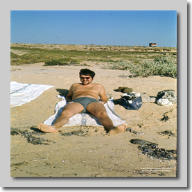 Found it ! Dave Green at the Beach (Red Sea Creek) Nr Jeddah - 1971 Hadj
